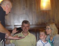 Robin, Rory and Clare checking out Rosie, the Chilean Rose Tarantula